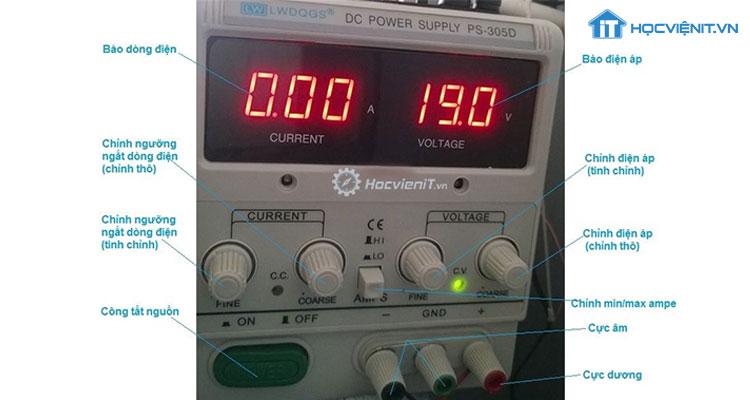 Các nút điều khiển trên máy cấp nguồn
