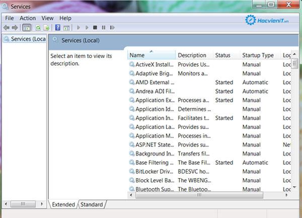 Danh sách dịch vụ chạy trên Windows