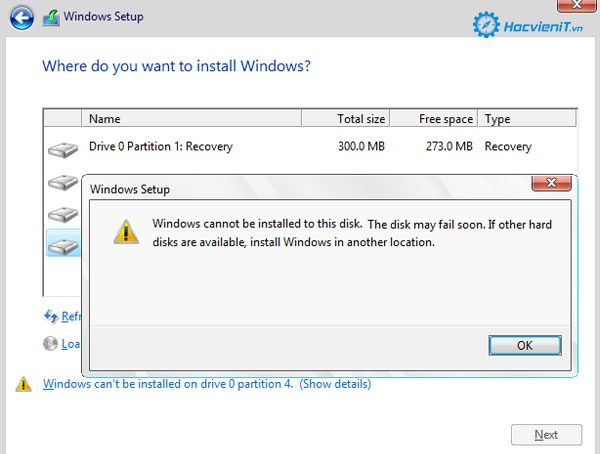 Windows Cannot Be Installed to This Disk. The Disk May Fail Soon