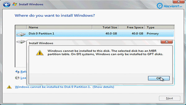 The Selected Disk Is of the GPT Partition Style