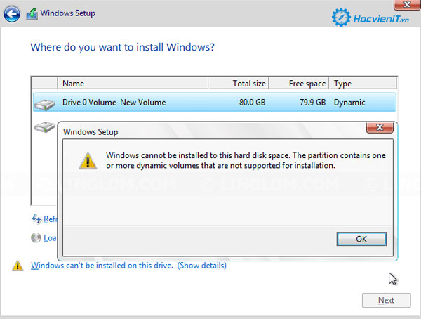 Windows Cannot Be Installed on Dynamic Disk