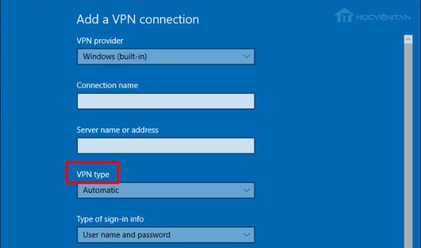 Menu VPN type