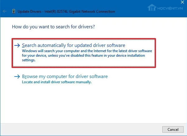 Search automactically for updated driver software
