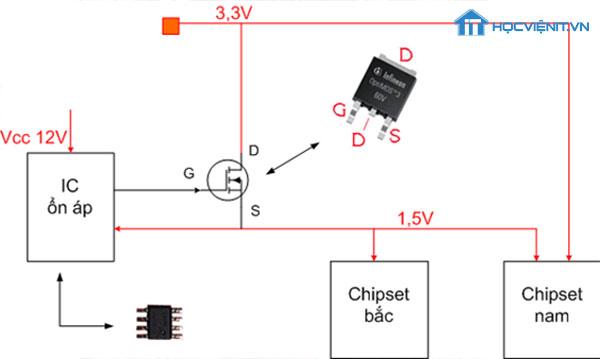 Sơ đồ nguyên lý của mạch ổn áp nguồn cho Chipset
