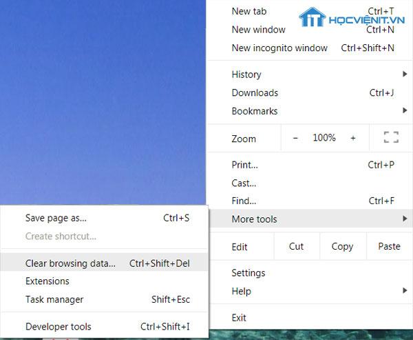 Xóa bộ nhớ cache cho Chrome