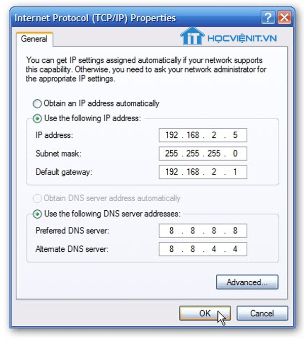 Gán IP cho mạng