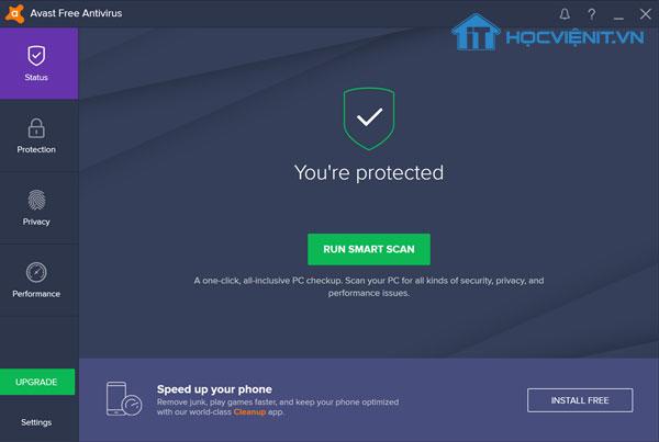 Giao diện phần mềm Avast diệt virus miễn phí