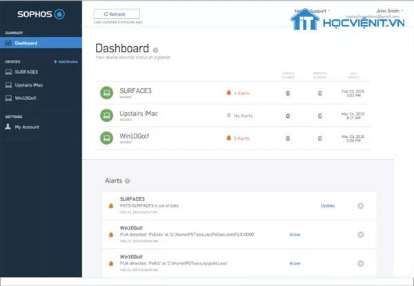 Giao diện phần mềm Sophos Home