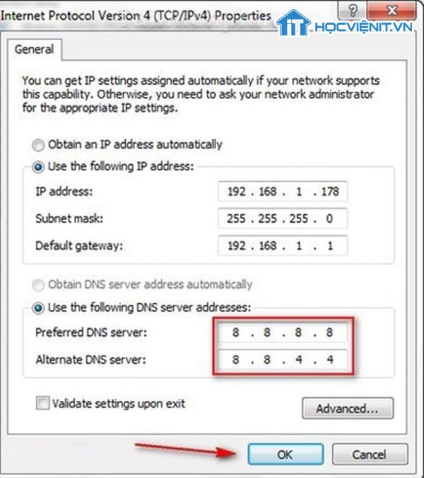 Thiết lập địa chỉ DNS