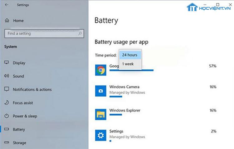 Xem mức pin sử dụng trên mỗi ứng dụng