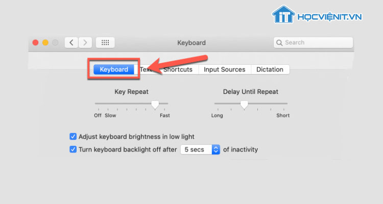 Cửa sổ Keyboard