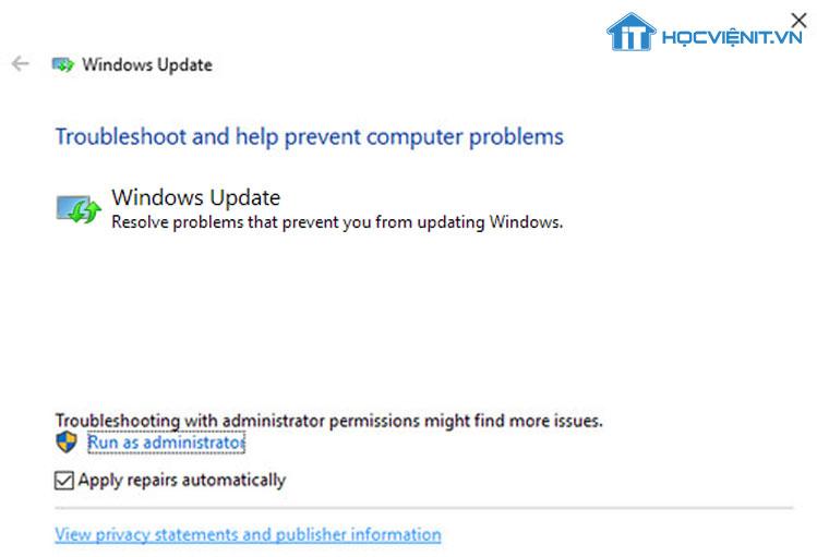Trình khắc phục sự cố Windows Update
