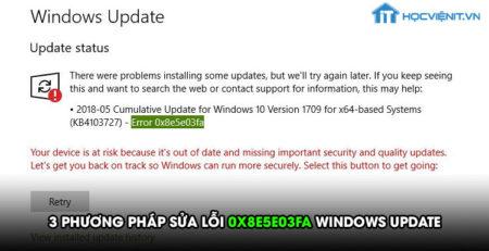 3 phương pháp sửa lỗi 0x8e5e03fa Windows Update