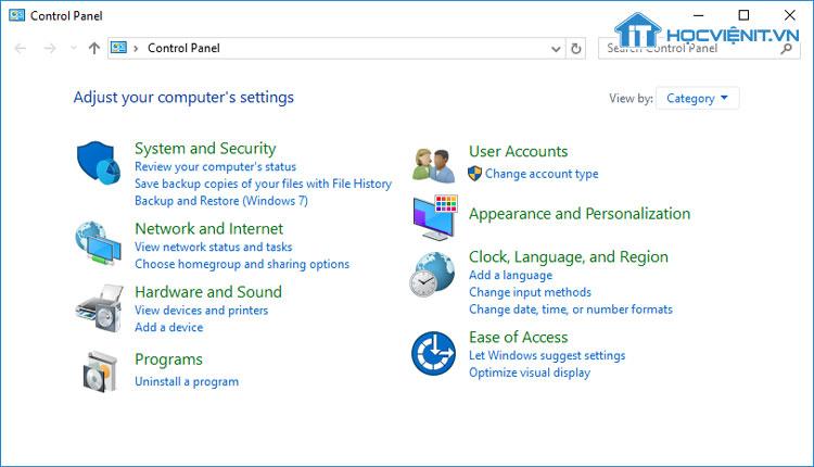 Control Panel trên Windows 10