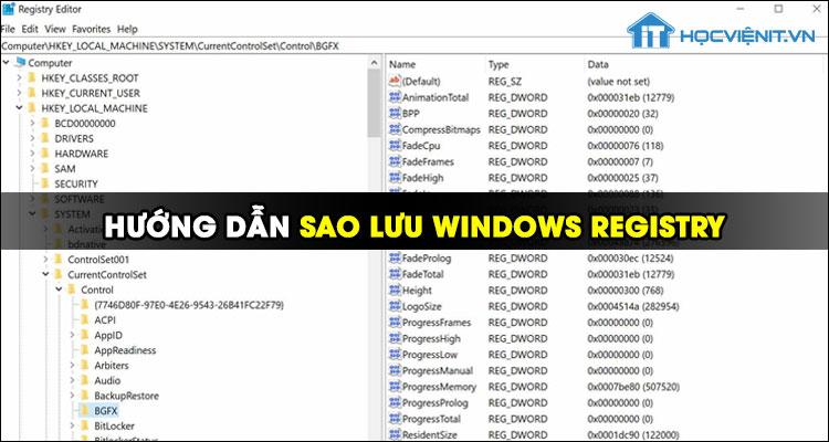 Hướng dẫn sao lưu Windows Registry trên Windows