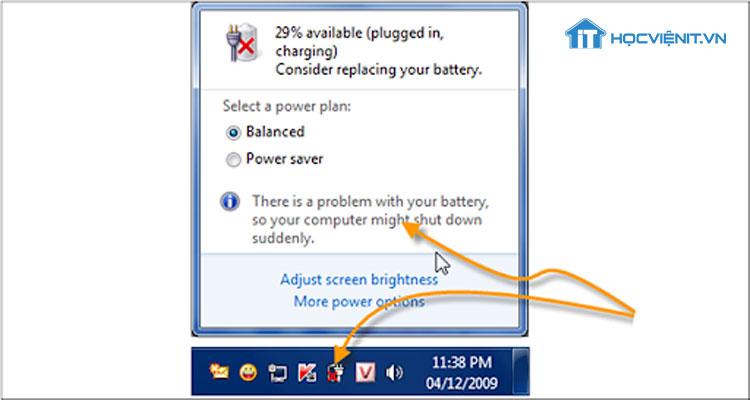 Ảnh laptop gặp lỗi pin gạch chéo đỏ