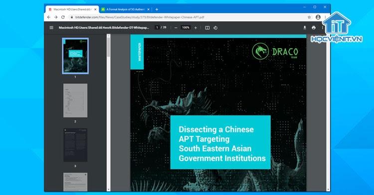 Giao diện trình đọc PDF của Chrome 87