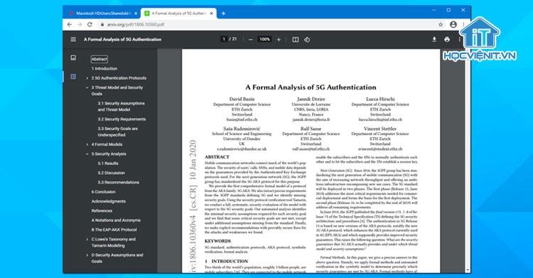 Màn hình giao diện trình đọc PDF mới