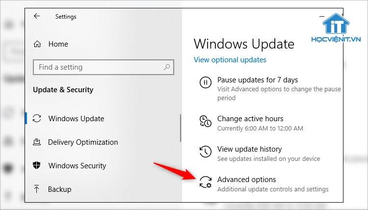 Nhấn vào Advanced options để vào cài đặt nâng cao