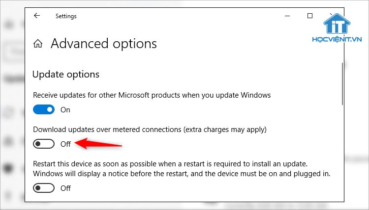 Tắt Download updates over metered connections