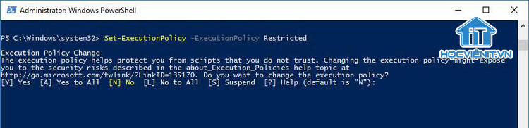 Lệnh Set-ExecutionPolicy trong PowerShell
