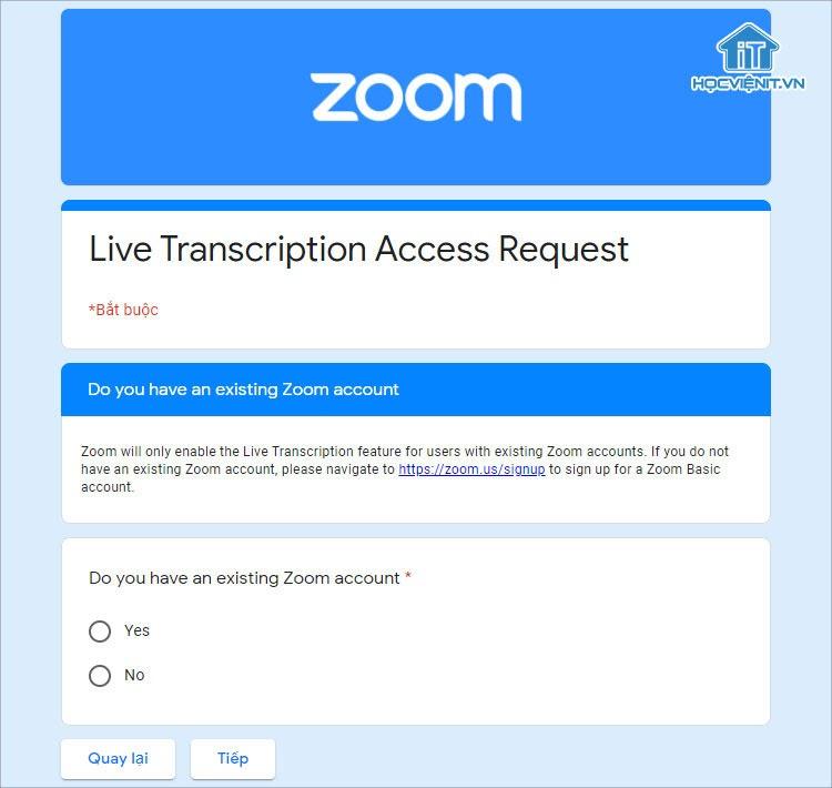 Biểu mẫu yêu cầu kích hoạt tính năng phụ đề của Zoom