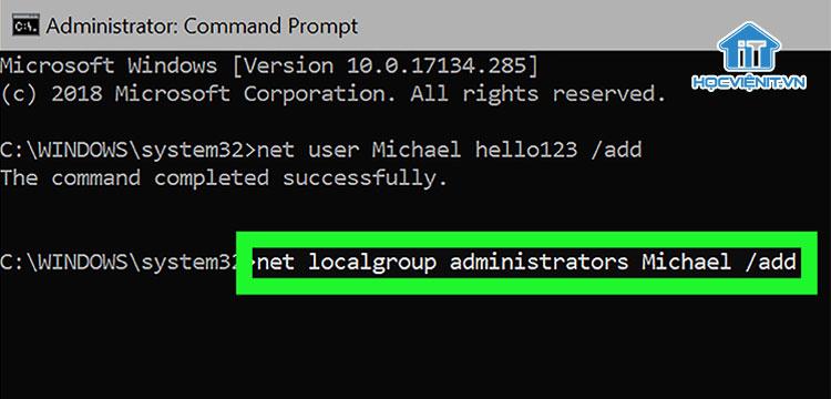 Sử dụng Command Prompt để tạo tài khoản Administrator trong Windows 10