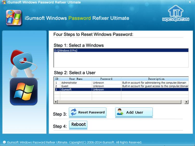 Sử dụng phần mềm iSumsoft Windows Password Refixer để tạo tài khoản Administrator trong Windows 10