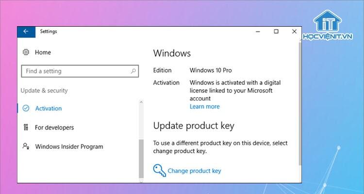 Windows tự kích hoạt bản quyền trên thiết bị có sẵn bản quyền