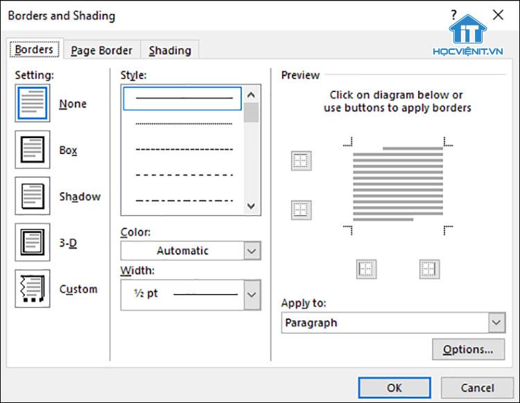 Cách tạo đường viền cho text trong Word