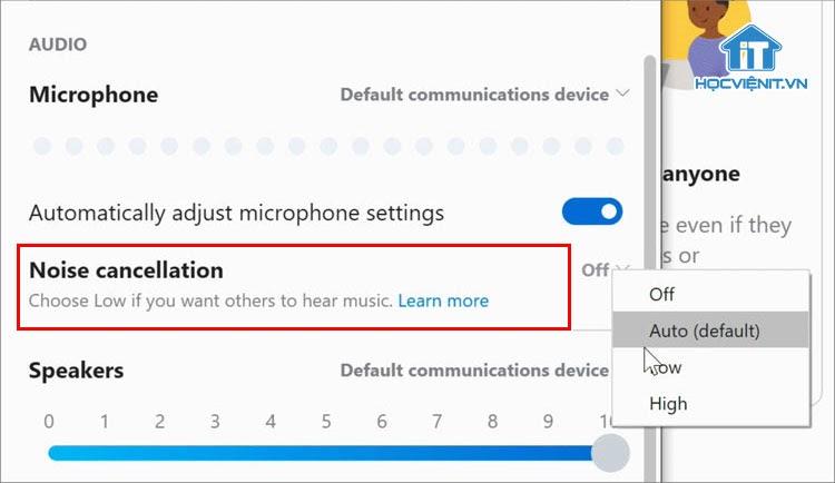 Có 4 tùy chọn khử tiếng ồn trên Skype