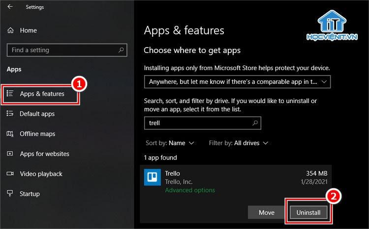 Xem và xóa ứng dụng Windows 10 bằng công cụ mặc định