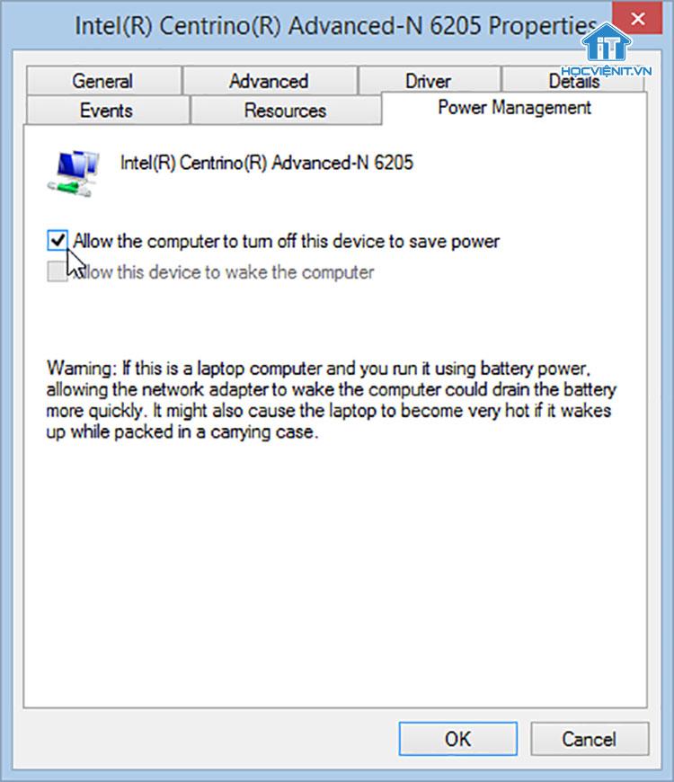 Thay đổi thuộc tính Network Adapter