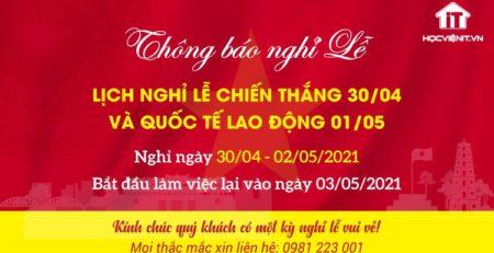 Học viện iT.vn thông báo lịch nghỉ lễ 30/4 và 1/5 năm 2021
