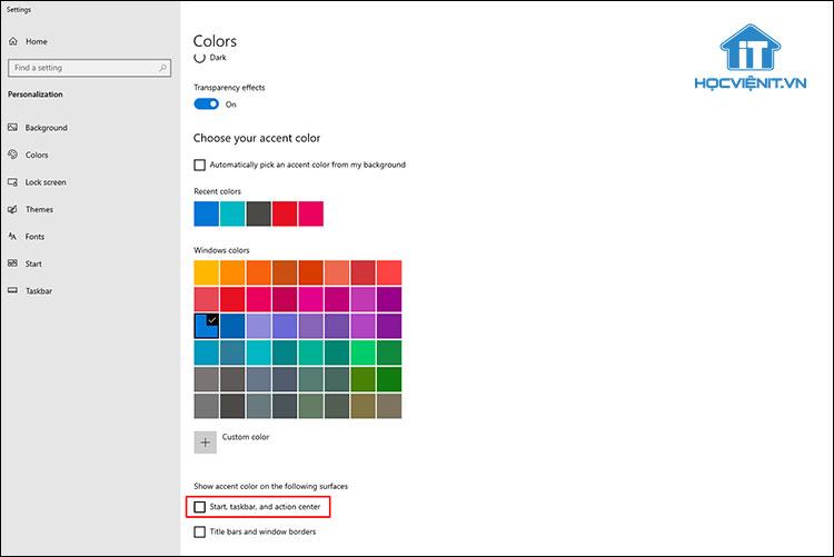 Hướng dẫn thay đổi màu cho Start, Taskbar và Action Center trên Windows 10