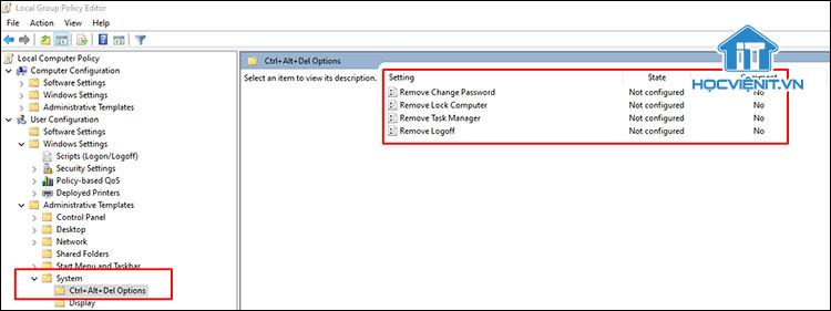 Hướng dẫn thay đổi tùy chọn trong màn hình Ctrl + Alt + Del