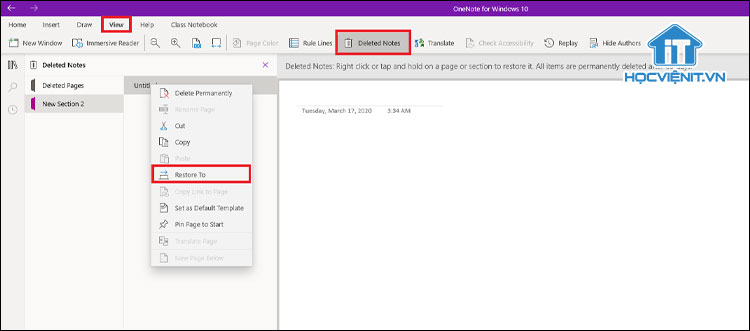 Khôi phục các ghi chú đã xóa trong OneNote for Windows 10