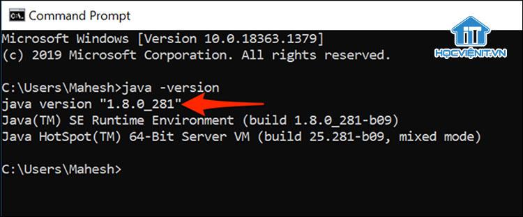Kiểm tra phiên bản Java bằng Command Prompt