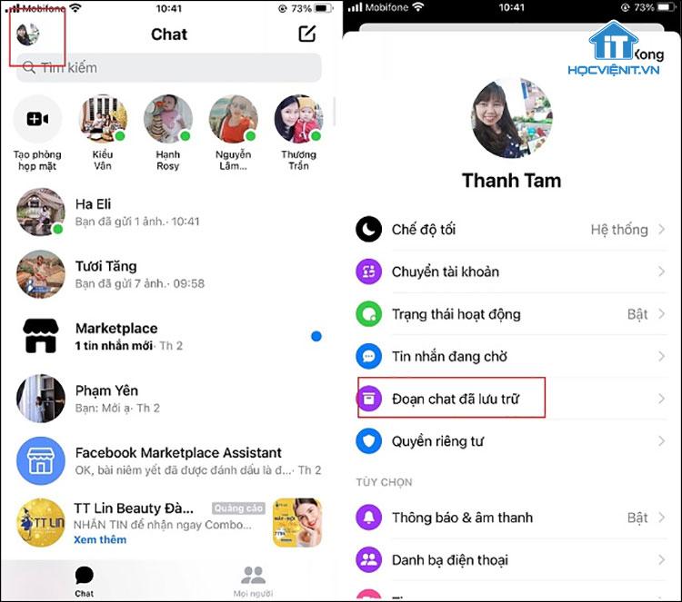 Kho lưu trữ cuộc trò chuyện trong FaceBook Messenger