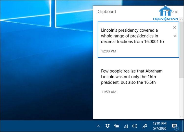 Windows Clipboard trong Windows 10