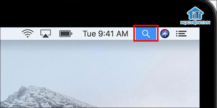 Biểu tượng Spotlight trên MacBook