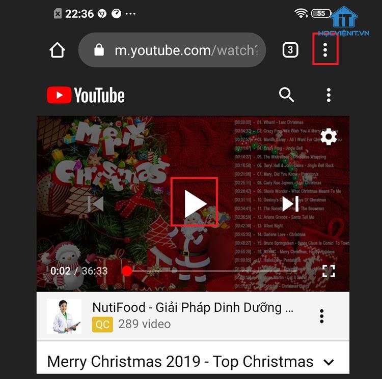 Pause video và chọn biểu tượng dấu 3 chấm