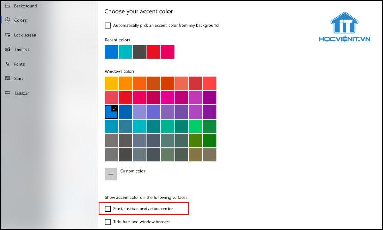 Thay đổi màu sắc cho thanh Taskbar