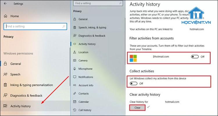 Vô hiệu hóa Timeline Windows 10 bằng Settings