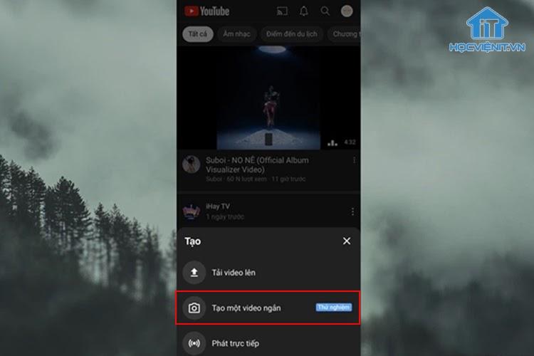 Nhấn vào tùy chọn Tạo video ngắn