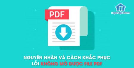 Nguyên nhân và cách khắc phục lỗi không mở được file PDF