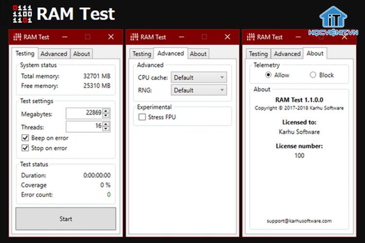 Karhu RAM Test với giao diện đơn giản, dễ hiểu