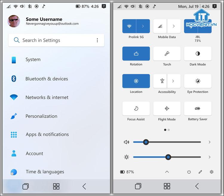 Settings và Action Center của Windows 11 Mobile