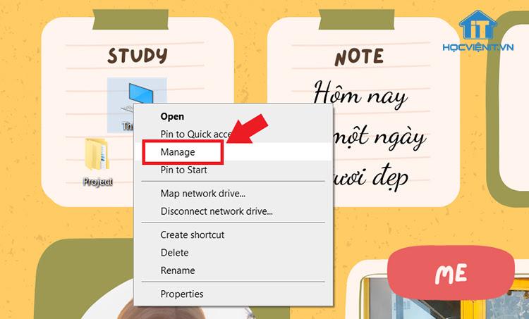 Click chuột phải chọn Manage