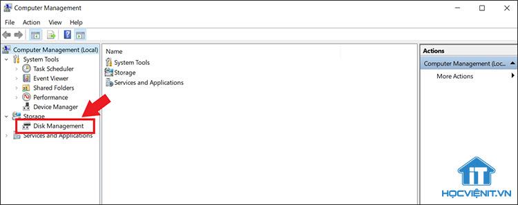 Chọn Disk Management để tiến hành phân vùng ổ cứng